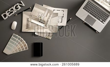 Architect Designer Concept, Gray Work Desk With Computer, Paper Draft, Kitchen Project Images And Bl
