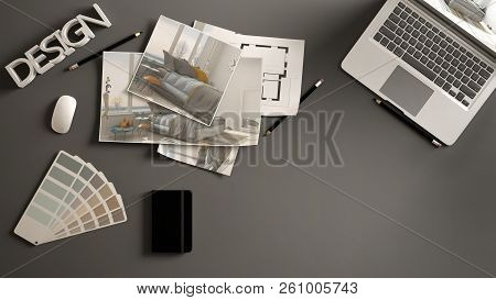 Architect Designer Concept, Dark Work Desk With Computer, Paper Draft, Bedroom Project Images And Bl