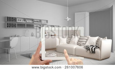 Augmented Reality Concept. Hand Holding Tablet With Ar Application Used To Simulate Furniture And In
