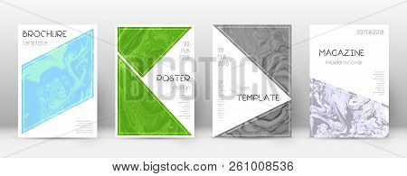Abstract Cover. Uncommon Design Template. Suminagashi Marble Triangle Poster. Uncommon Trendy Abstra