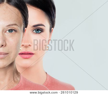 Young And Older Woman. Aging And Youth Concept. Before And After, Youth And Old Age. Process Of Agin