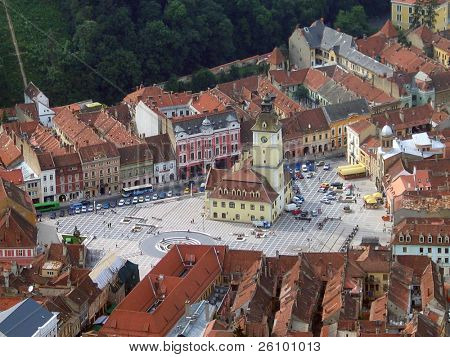 Romania. Main square of Brasov. Bird's eye view.