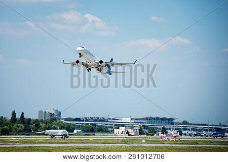 Kiev, Ukraine - August 05, 2016:  Aircraft Company Ukraine International Airlines Takeoff From Borys