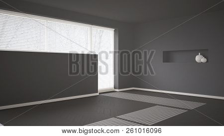 Empty Room Background With Herringbone Parquet And Big Window With Venetian Blind, Gray Modern Archi