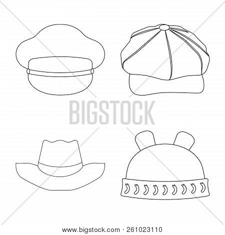 Vector Illustration Of Headgear And Cap Symbol. Collection Of Headgear And Accessory Stock Vector Il