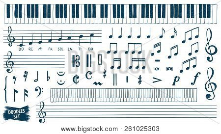 Music Notes Doodles Set. Piano Keys Sketch. Treble Clef. Hand Drawn Detailed Sketch. G-clef. Scribbl