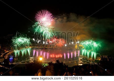 the 20th of August fireworks over Budapest Parliament, the Danube and chain bridge on St. Stephens or foundation day of Hungary