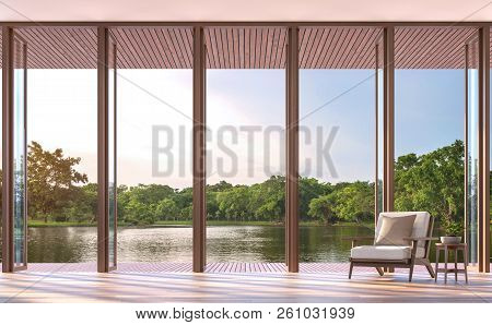 Lake Side Living Room 3d Render,the Rooms Have Wooden Floors,furnished With White Fabric Chair,there