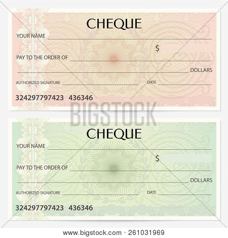 Check, Cheque (Chequebook template). Guilloche pattern with abstract floral watermark, border. Green background for banknote, money design, currency pattern, green bank note, Voucher, Gift certificate, Money coupon or debenture stock poster