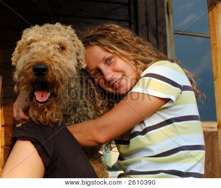 little girl hugging a large dog portrait close-up poster