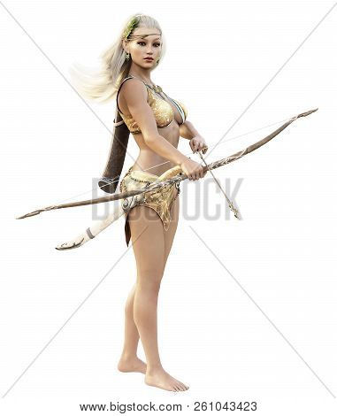 Fantasy Blonde Female Wood Elf Archer With Bow And Arrow Standing Guard On A White Background. 3d Re