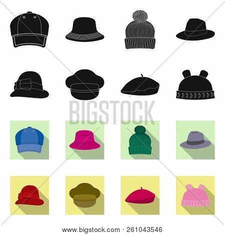 Vector Illustration Of Headgear And Cap Logo. Set Of Headgear And Accessory Stock Symbol For Web.