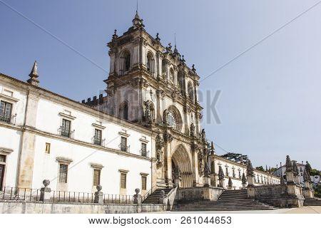 Details Of The Exterior Front Of The Alcobaca Monastery, Or Mosteiro De Santa Maria De Alcobaca, In