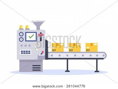 Technology And Packing Concept In Flat Style. Industrial Machine Vector Illustration.