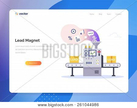 Managing Sales Vector Concept In Flat Style. Conveyor Generate Lead Magnets. Marketing Technology Ve