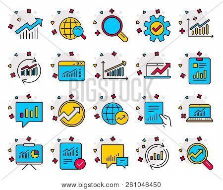 Analysis Checklist, Statistics Line Icons. Set Of Charts, Reports And Graphs Signs. Data, Presentati