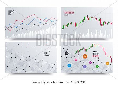 Financial Chart With Line Graph. Cryptocurrency Stock Exchange Market. Statistics Uptrend. Analytics