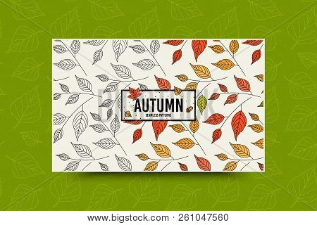 Autumn Leaf Seamless Pattern. Fall Leaves Texture. Seasonal Web Banner Template With Leaf Pattern. F