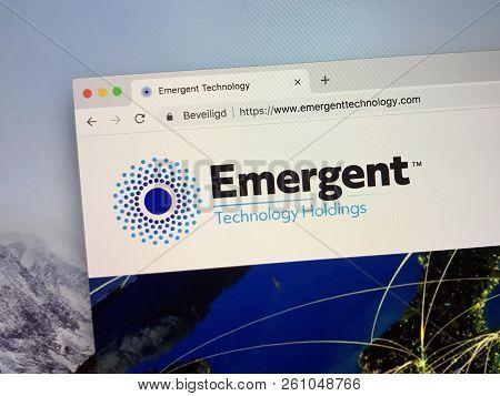 Amsterdam, Netherlands - October 1, 2018: Website Of Emergent, A Blockchain Technology Platform.