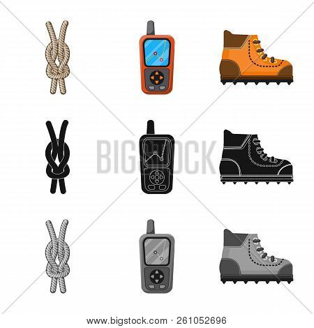 Isolated Object Of Mountaineering And Peak Logo. Set Of Mountaineering And Camp Vector Icon For Stoc