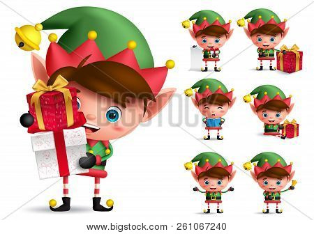 Christmas Elf Vector Character Set. Boy Elves With Green Costume Holding Gifts And Playing Isolated
