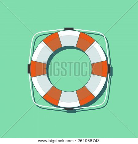 Lifebuoy Icon In Flat Style Isolated On A Green Background. Simple Vector Life Ring Or Life Preserve