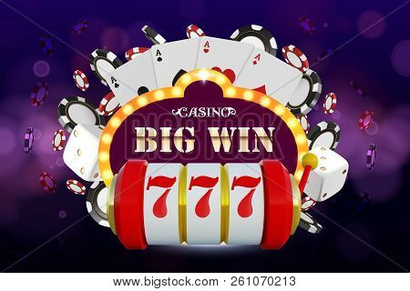 Big Win 777 Lottery Vector Casino Concept With Slot Machine, Playing Chips. Win Jackpot In Game Slot