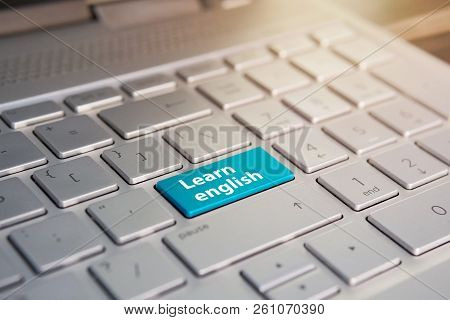 Laptop Keyboard In Closeup With Learn English Button As Study Of Foreign Language Concept
