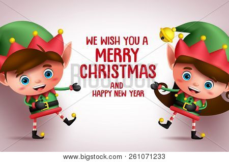 Christmas Kid Elves Vector Characters Showing Merry Christmas Greeting Text In White Background. Vec