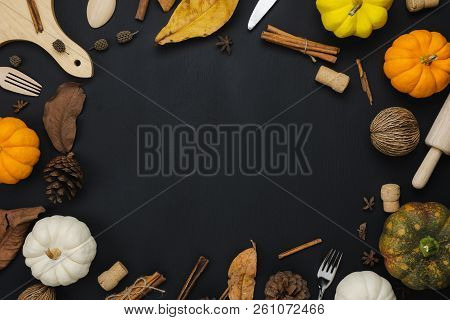 Table Top View Aerial Image Of Decoration Happy Halloween Or Thanksgiving Day Background Concept.fla