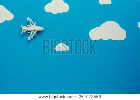 Table Top View Aerial Image Of Transportation With Airplane Or Travel Background Concept.flat Lay Of