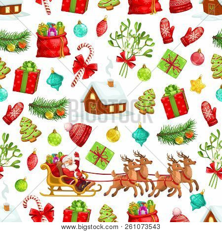 Christmas Pattern Background Of Winter Holiday Celebration Symbols. Vector Seamless Design Xmas Tree