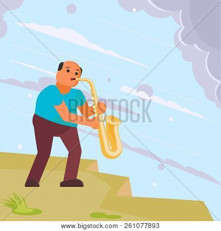 Musician Playing Saxophone In The Street. Vector Illustration In Flat Style. Street Musician Sax Pla