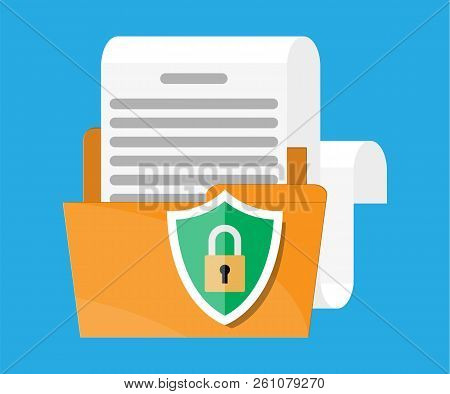 Folder With Document Paper Roll And Shield With Lock. Document Protection Concept, Security Document
