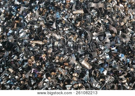 Group Of Steel Scrap On Steel Plate