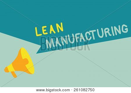 Handwriting text writing Lean Manufacturing. Concept meaning Waste Minimization without sacrificing productivity poster