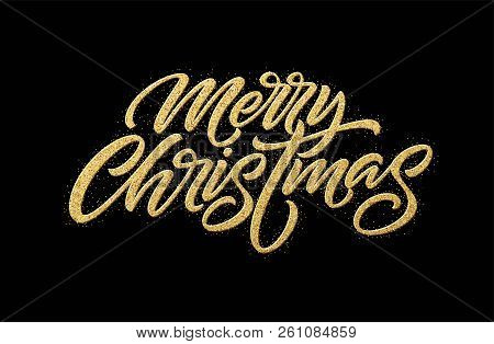 Merry Christmas Gold Glitter Lettering Design. Christmas Greeting Card, Poster, Banner. Golden Glitt