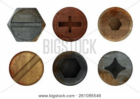 Old Rusty Bolts Screw. Hardware Rust Metal Texture For Different Iron Tools. Vector Realistic Pictur