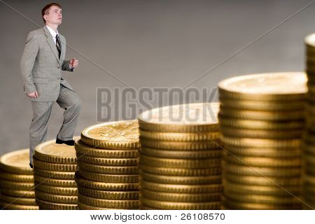 young businessman count money