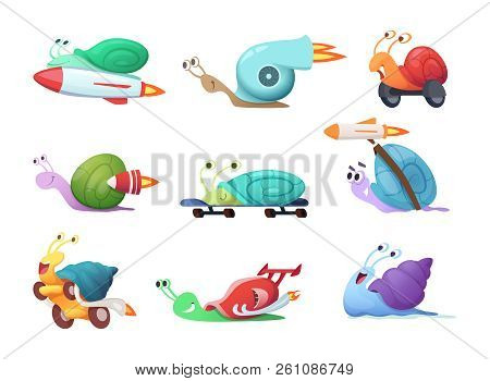 Snails Cartoon Characters. Slow Sea Slug Or Caracoles Vector Illustrations. Speed And Fast Snail Cha