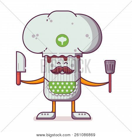 Smiling Chief Cooker Champignon Character In Chef Hat With Mustache Juggling Ingredients. Happy Cham