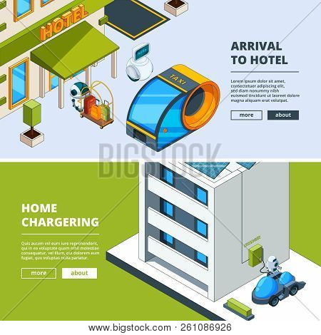 Futuristic Transport And Robots. Banners Template With Isometric Low Poly City Of Future. Car Vehicl
