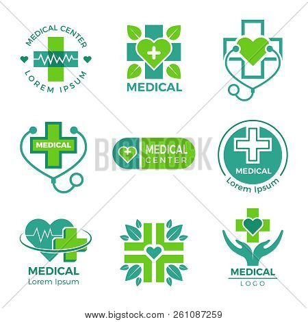 Medical Logotypes. Medicine Pharmacy Clinic Or Hospital Cross Plus Health Care Vector Symbols Design