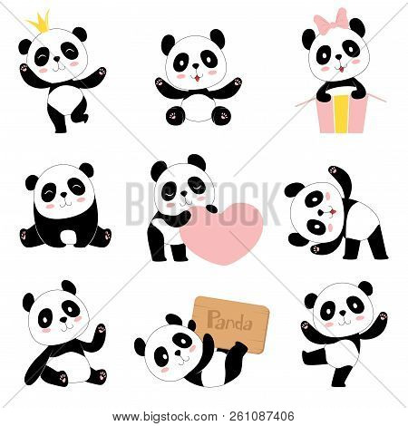 Cute Baby Pandas. Toy Animals Chinese Symbols Panda Bear Adorable Funny Baby Mascot Vector Character