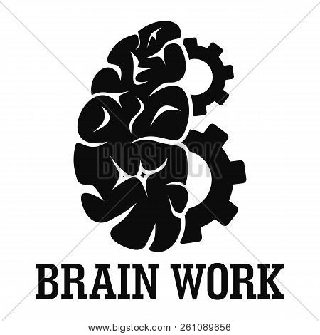 Hard Brain Work Logo. Simple Illustration Of Hard Brain Work Vector Logo For Web Design Isolated On