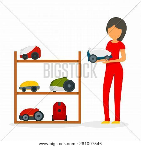 Woman Buy Vacuum Cleaner Concept Background. Flat Illustration Of Woman Buy Vacuum Cleaner Vector Co