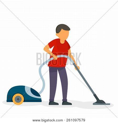 Husband Vacuum Cleaner Concept Background. Flat Illustration Of Husband Vacuum Cleaner Vector Concep