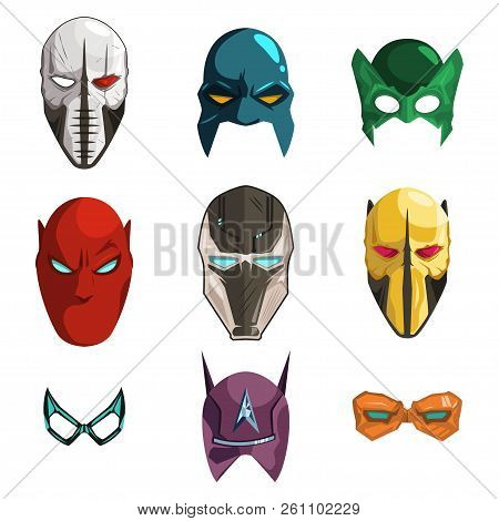 Superhero Mask On Face And Eyes Vector Cartoon Comics Set Isolated On White Background. Illustration
