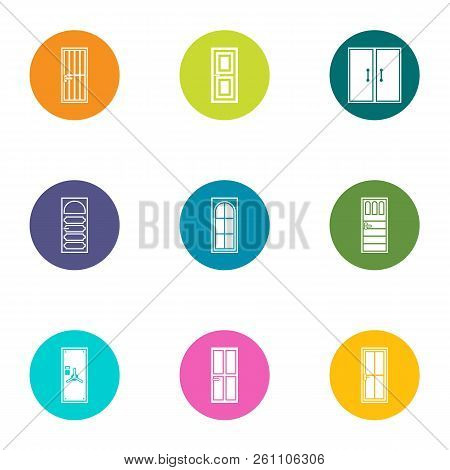 Door Aperture Icons Set. Flat Set Of 9 Door Aperture Vector Icons For Web Isolated On White Backgrou