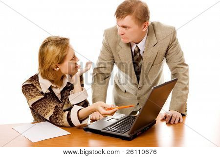 Business team man and woman and laptop on white background